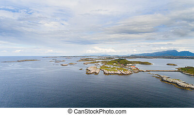Norway coast with island in summer aerial drone view