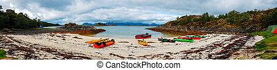 norway., colorido, colinas, costa, kayaques, arenoso, foto, azul, panorámico, cielo