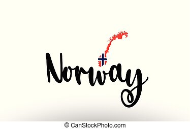 Norway country big text with flag inside map concept logo