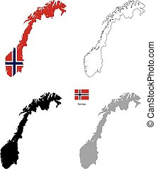 Norway country black silhouette and with flag on background