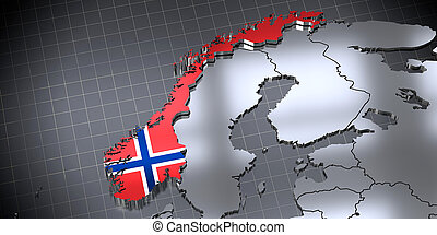 Norway - country borders and flag - 3D illustration