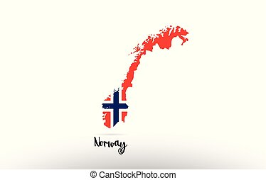 Norway country flag inside map contour design icon logo