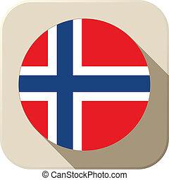 Norway Flag Button Icon Modern