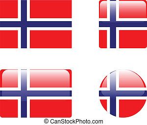 Norway flag & buttons collection - vector