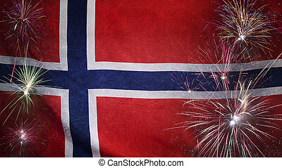Norway Flag Firework Grunge Concept real fabric