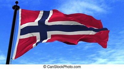 Norway Flag in the Wind - Close up Norway flag blowing in...