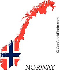 Norway flag map