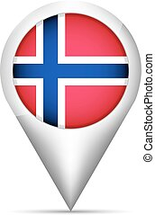 Norway flag map pointer with shadow. Vector illustration