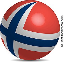 Norway flag on a 3d ball with shadow