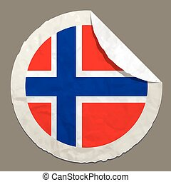 Norway flag on a paper label