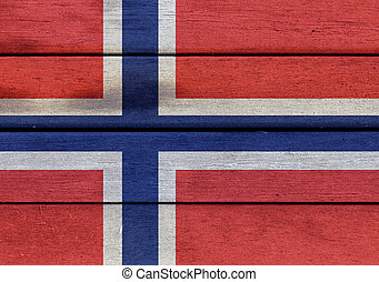 Norway flag on a wood