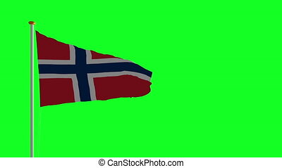 Norway flag on green screen