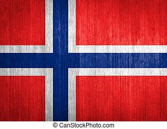 Norway Flag on wood background