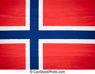 Norway flag on wood texture