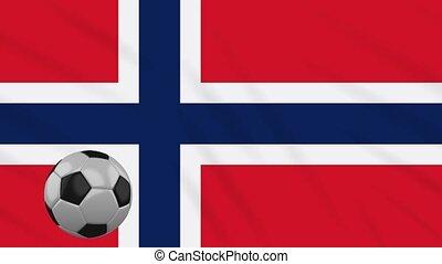 Norway flag waving and football rotates, loop - Norway flag...