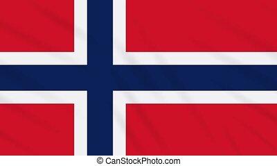 Norway flag waving cloth background, loop
