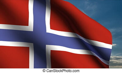 Norway Flag waving in wind with clouds in background