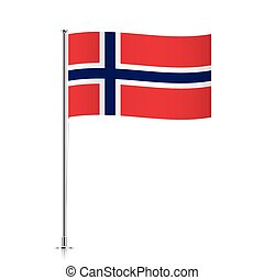 Norway flag waving on a metallic pole.