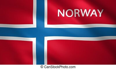 Norway flag with the name of the country