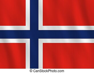 Norway flag with waving effect, official proportion.
