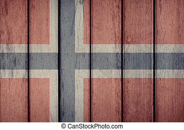 Norway Flag Wooden Fence