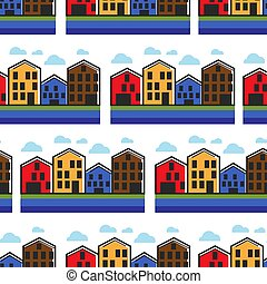 Norway houses townhouse seamless pattern Norwegian...