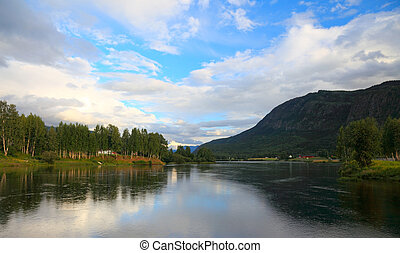 Norway lake view in summer. Before sunset.