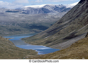 Norway landscape of lakes in Jotunheimen