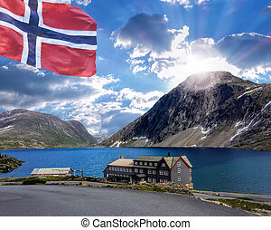 Norway landscape with hotel