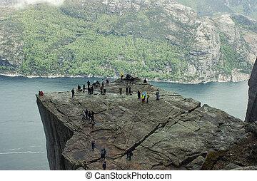 norway., lysefjorden, nebuloso, fjord, weather.,...