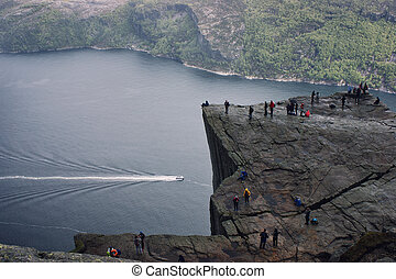 norway., lysefjorden, nebuloso, fjord, weather., ...
