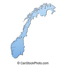 Norway map filled with light blue gradient. High resolution....