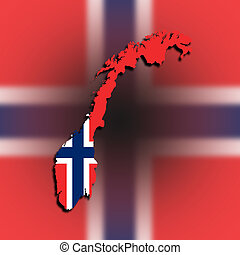Norway map with the flag inside
