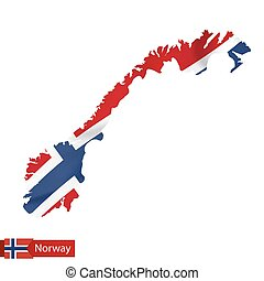 Norway map with waving flag of Norway.