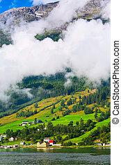Norway mountain fjord village landscape