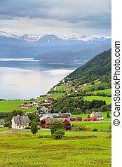Norway - Nordfjord landscape. Part of Nordfjord called Innvikfjorden. Utvik village.