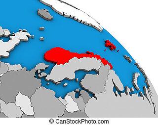 Norway on 3D globe