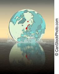 Norway on globe splashing in water