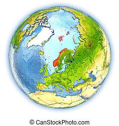 Norway on isolated globe