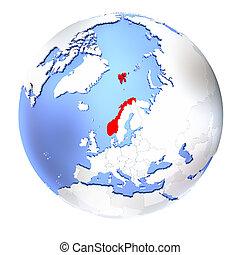 Norway on metallic globe isolated