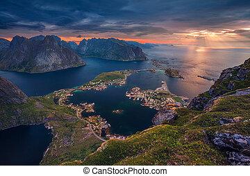 Norway. - View from Reinebringen at Lofoten Islands, Norway.