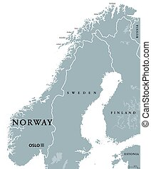 Norway political map with capital Oslo, national borders and...
