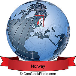 Norway, position on the globe Vector version with separate layers for globe, grid, land, borders, state, frame; fully editable