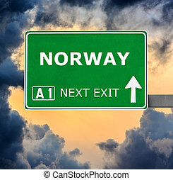 NORWAY road sign against clear blue sky