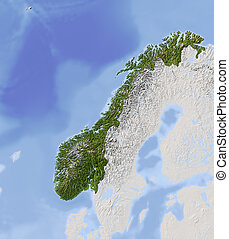 Norway. Shaded relief map. Surrounding territory greyed out. Colored according to vegetation. Includes clip path for the state area. Projection: Lambert Conic Conformal 20/60/35/73 Extents: 0/54//35/73