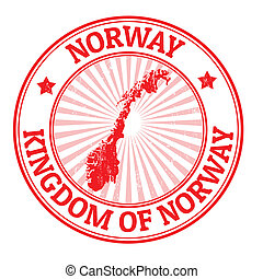 Norway stamp - Grunge rubber stamp with the name and map of...