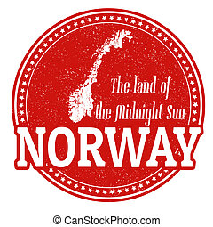 Vintage stamp with world Norway written inside and map of Norway, vector illustration