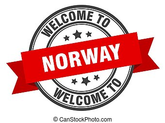 Norway stamp. welcome to Norway red sign