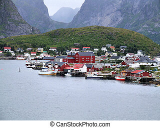Norway - Moskenes - fishing town and ferry harbor in Lofoten...