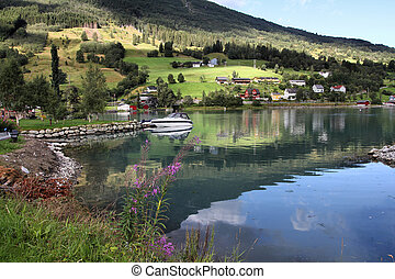 Norway, Sogn of Fjordane county. Fishing harbor, Nordfjord...